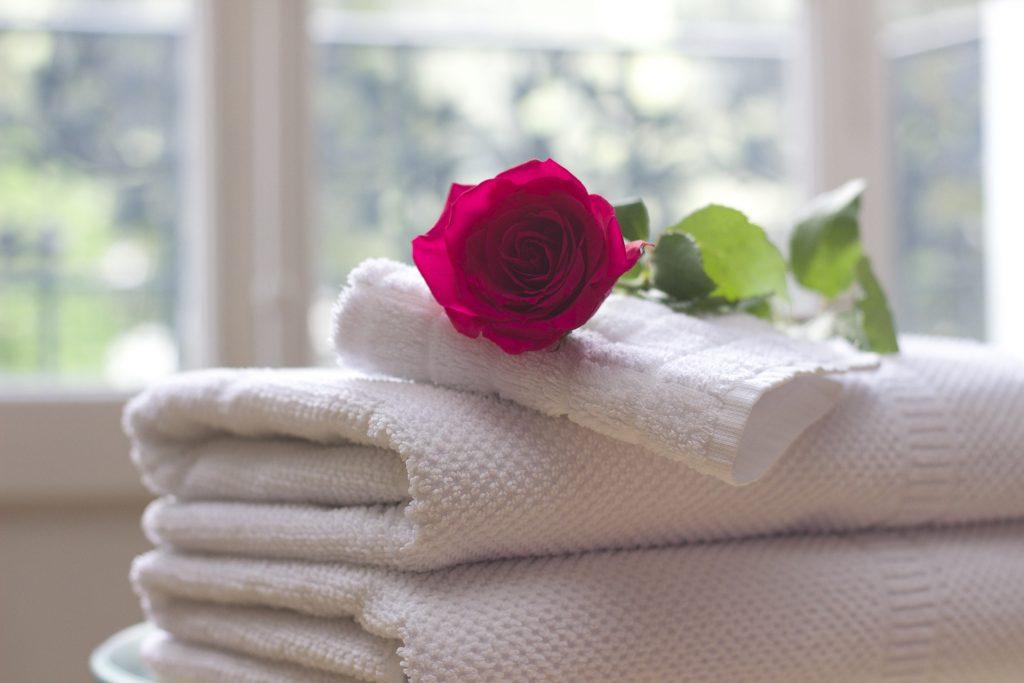 Asciugamani puliti con rosa